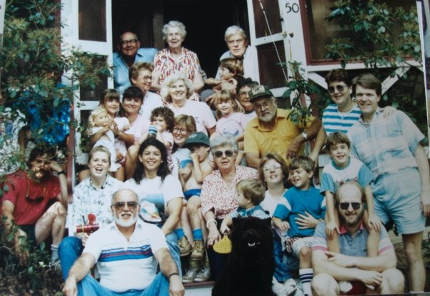 Family Picture on the Cottage stairs.  My brother and I are sitting on Mom's lap in the middle.