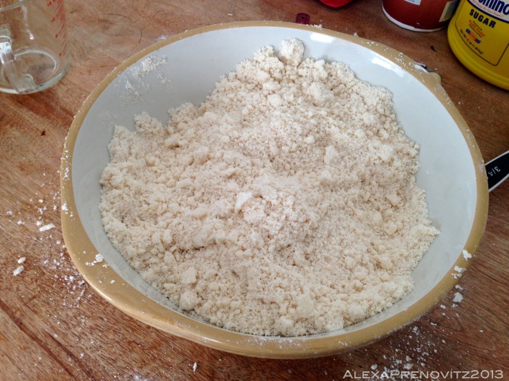 dry ingredients mixed with lard