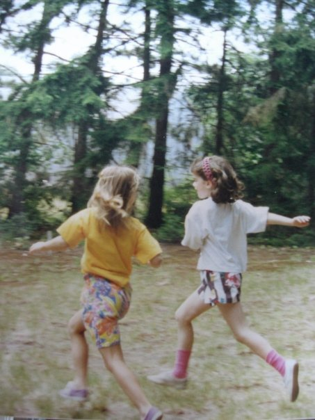 Cousin Elizabeth and I running to the Lookout